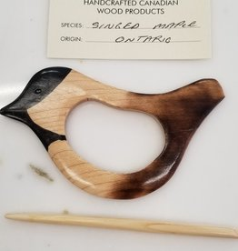 Handmade Wooden Bird Shawl Pin