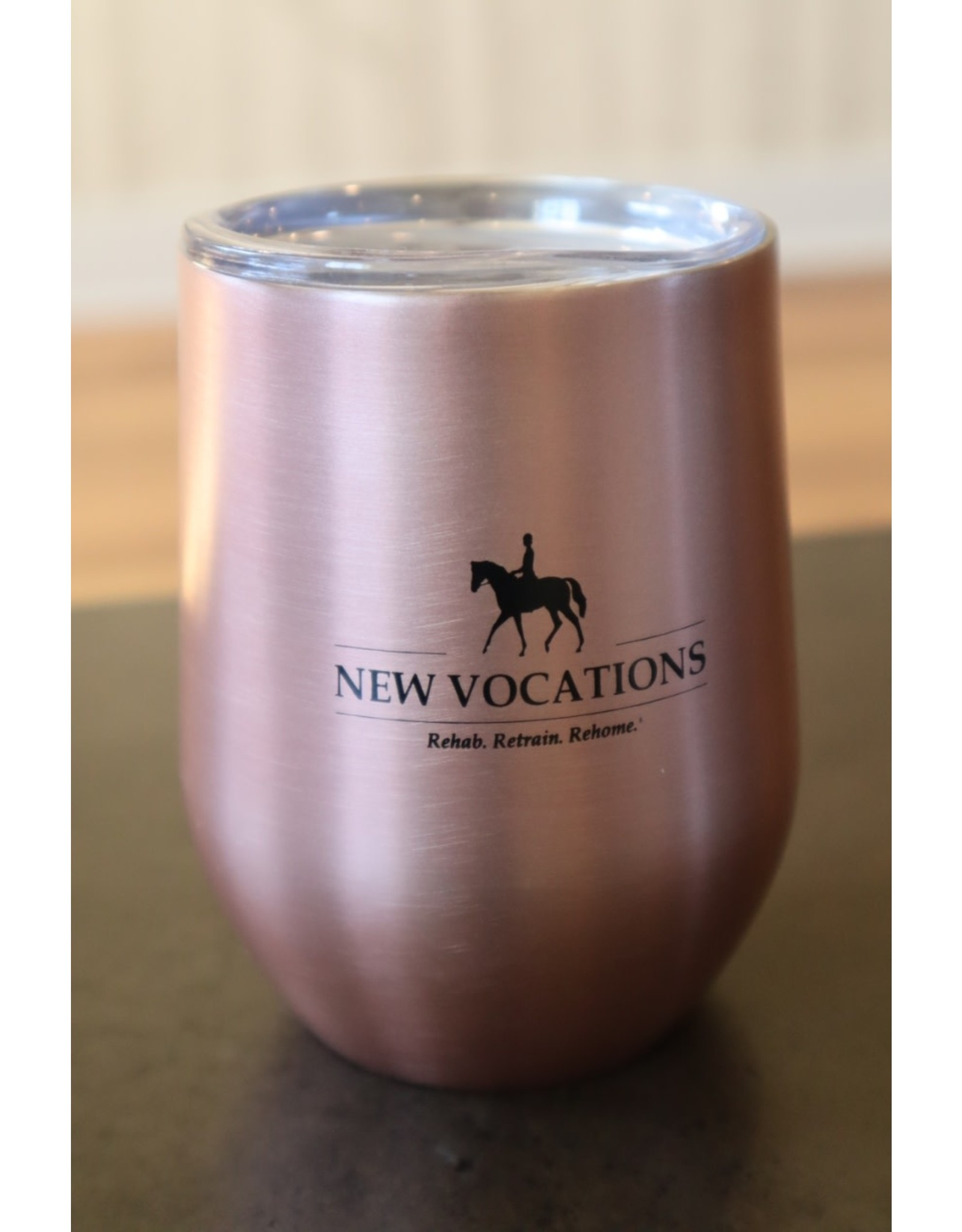 Stemless Wine Glass w/ lid (Rose gold)