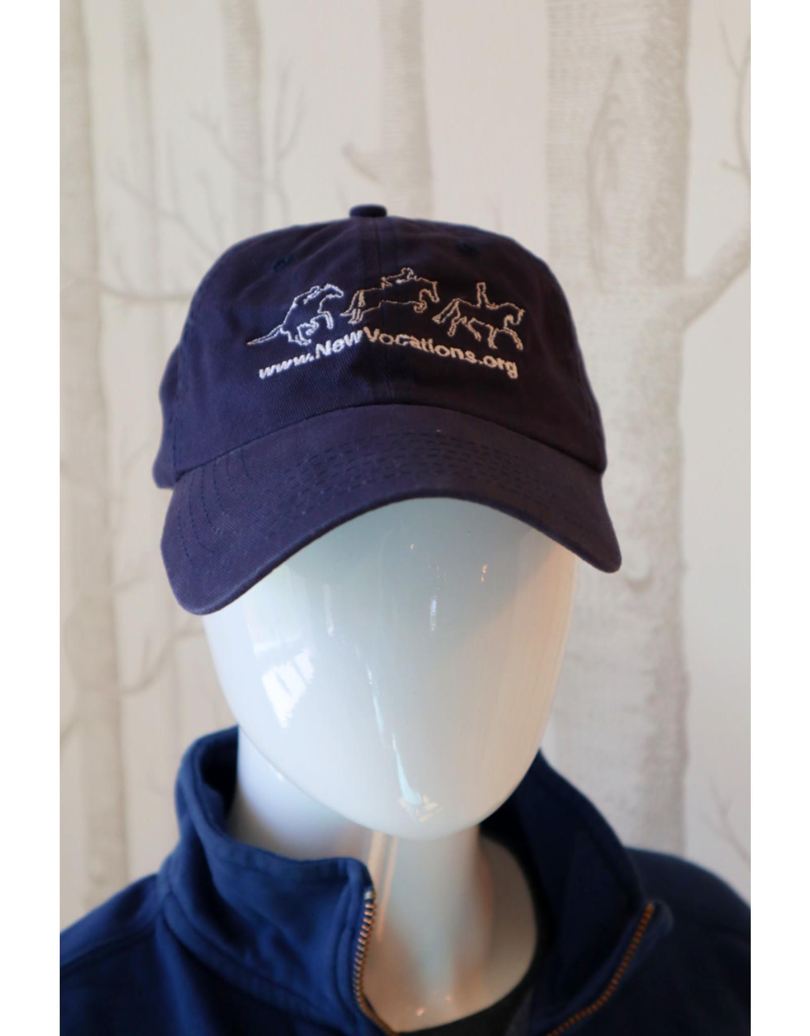 Navy Three Horses Adjustable Hat
