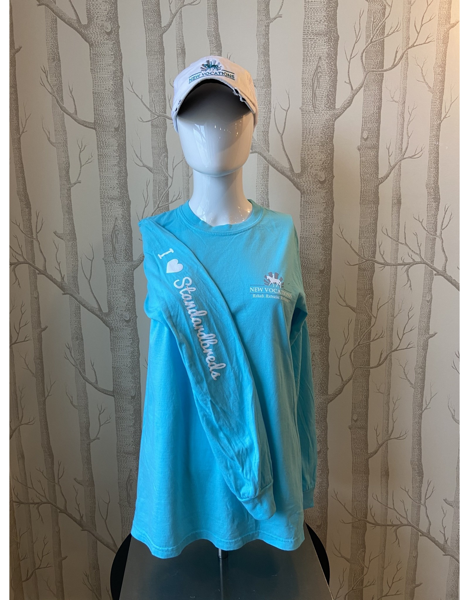 "Lagoon Blue ""I ♥ Standardbreds"" Long Sleeve T-Shirt"
