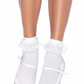 Leg Avenue 3013 Anklet Lace Ruffle White