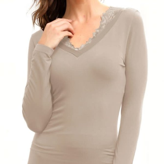 Orange Almost Naked Bamboo Long-Sleeve Top w. Lace BAM-01