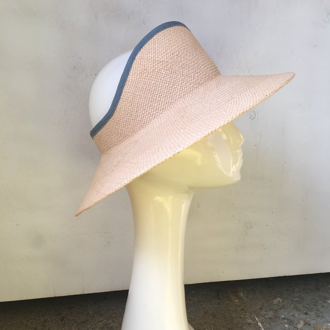 Tierre Taylor Hats and Accessories Classic Straw Sun Visor w. Contrasting Ribbon Trim