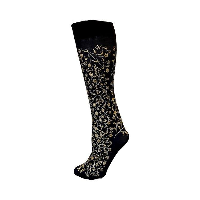 Polonova Hand-Printed Trouser Sock Flowers