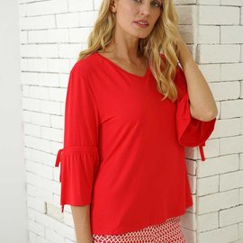 Orange Almost Naked Bamboo Top w. Tie Sleeve SS-11
