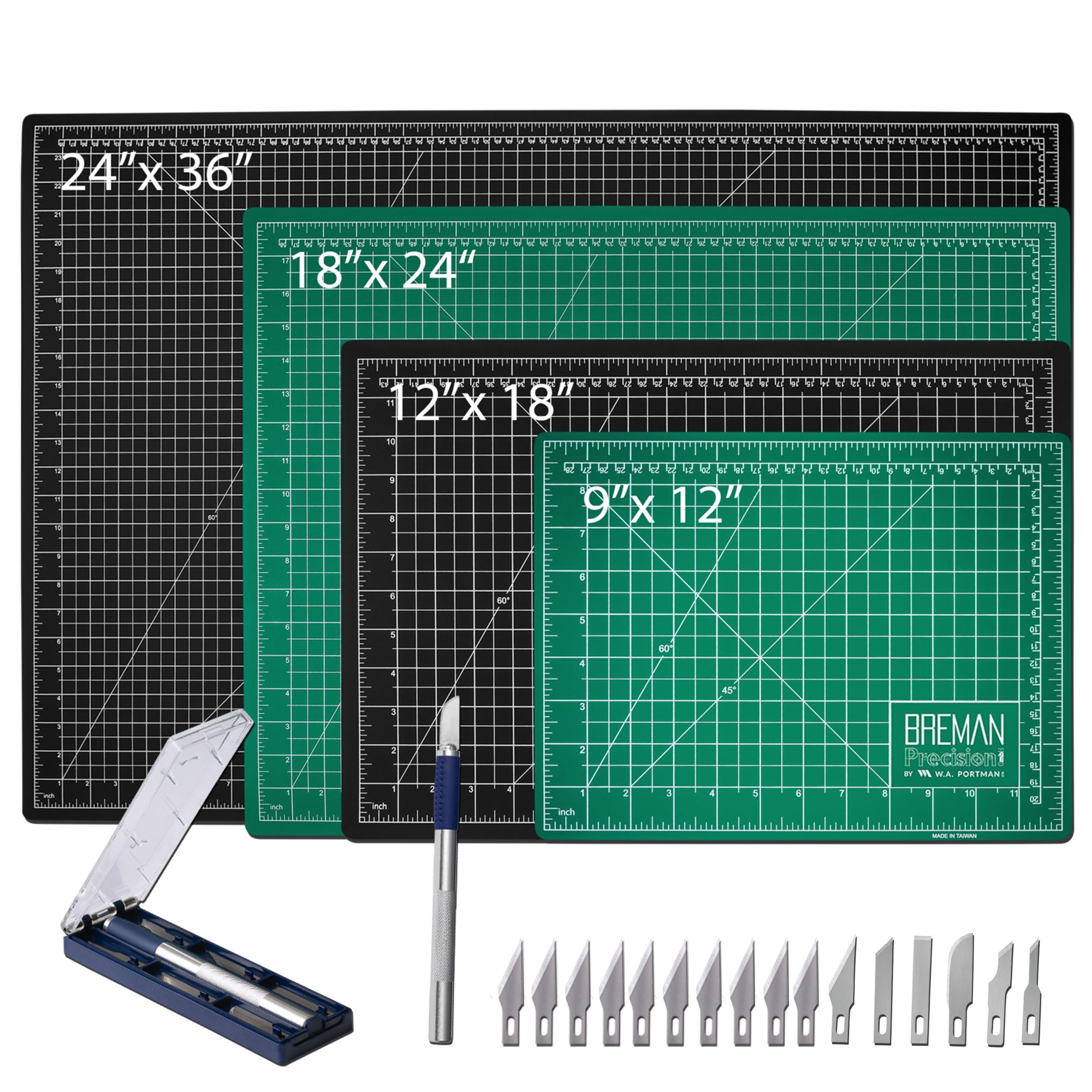 W.A. Portman Cutting Mat & Craft Knife Set (9x12, 12x18, 18x24, 24x36)
