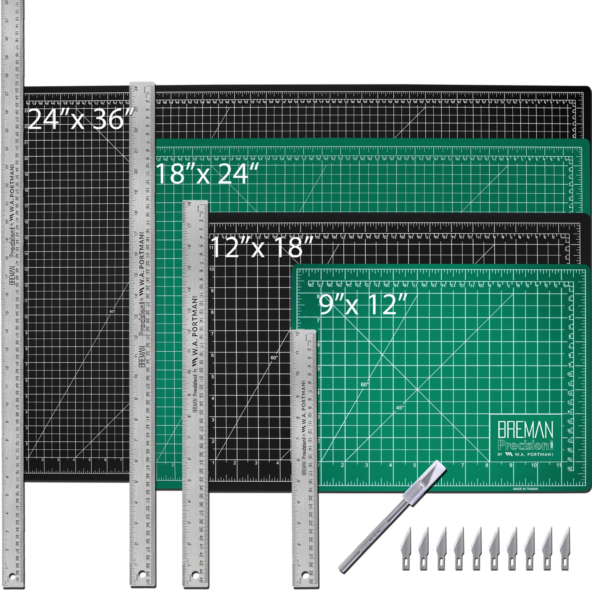W.A. Portman Cutting Mat Craft Knife & Steel Ruler Set (9x12, 12x18, 18x24, 24x36)