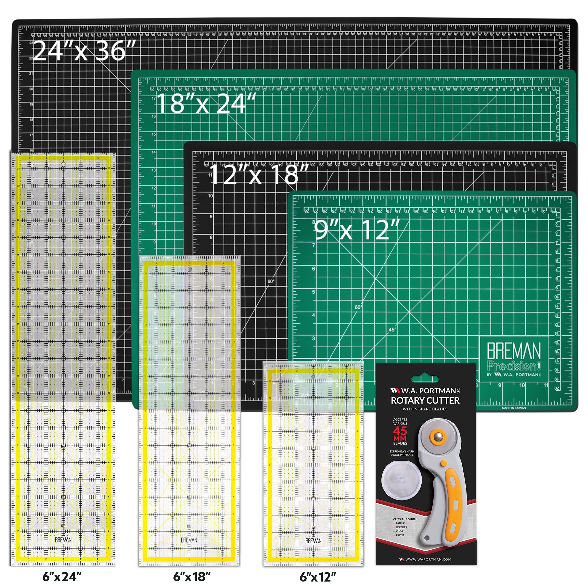 W.A. Portman Rotary Cutter Set w/ Quilting Ruler (9x12, 12x18, 18x24, 24x36)