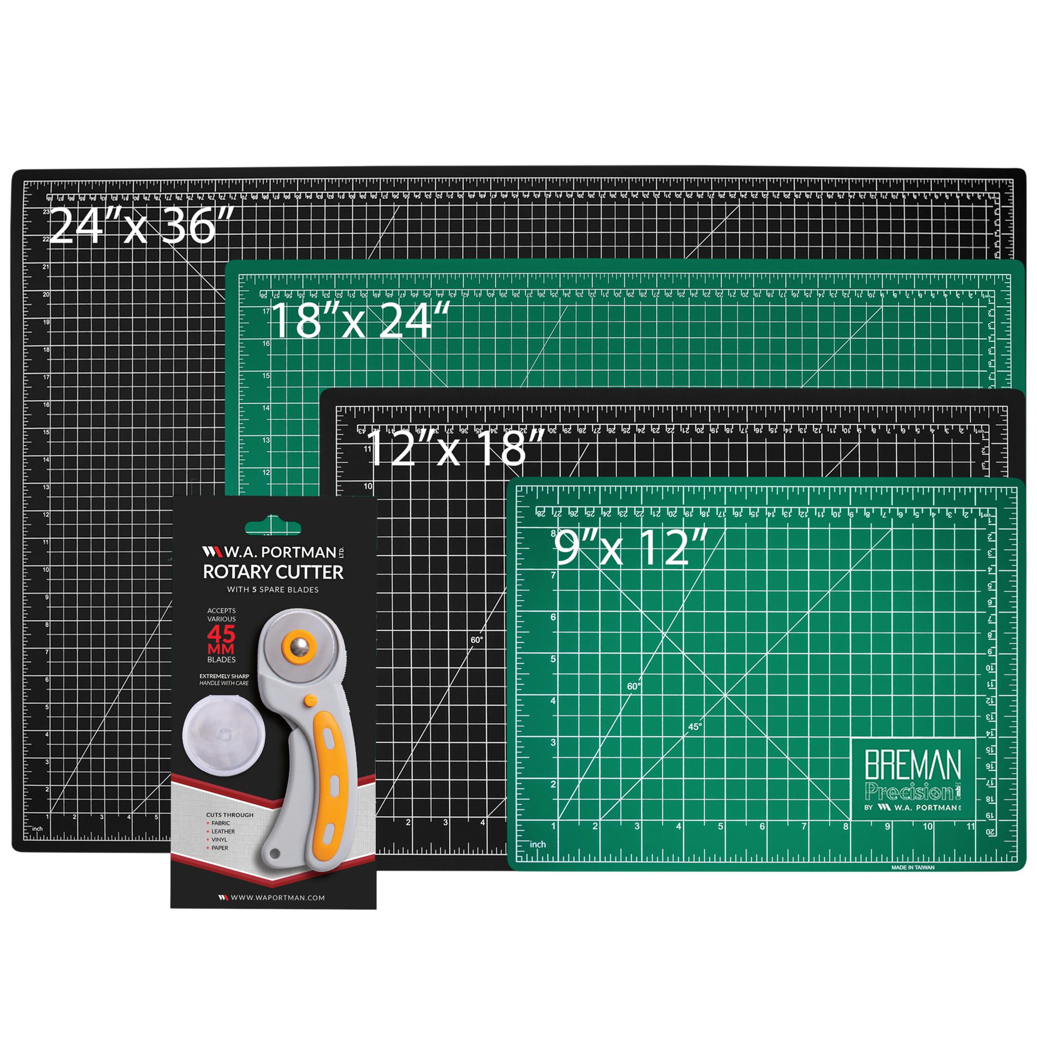 W.A. Portman Rotary Fabric Cutter w/5 Replacement Blades & Cutting Mat (9x12, 12x18, 18x24, 24x36)