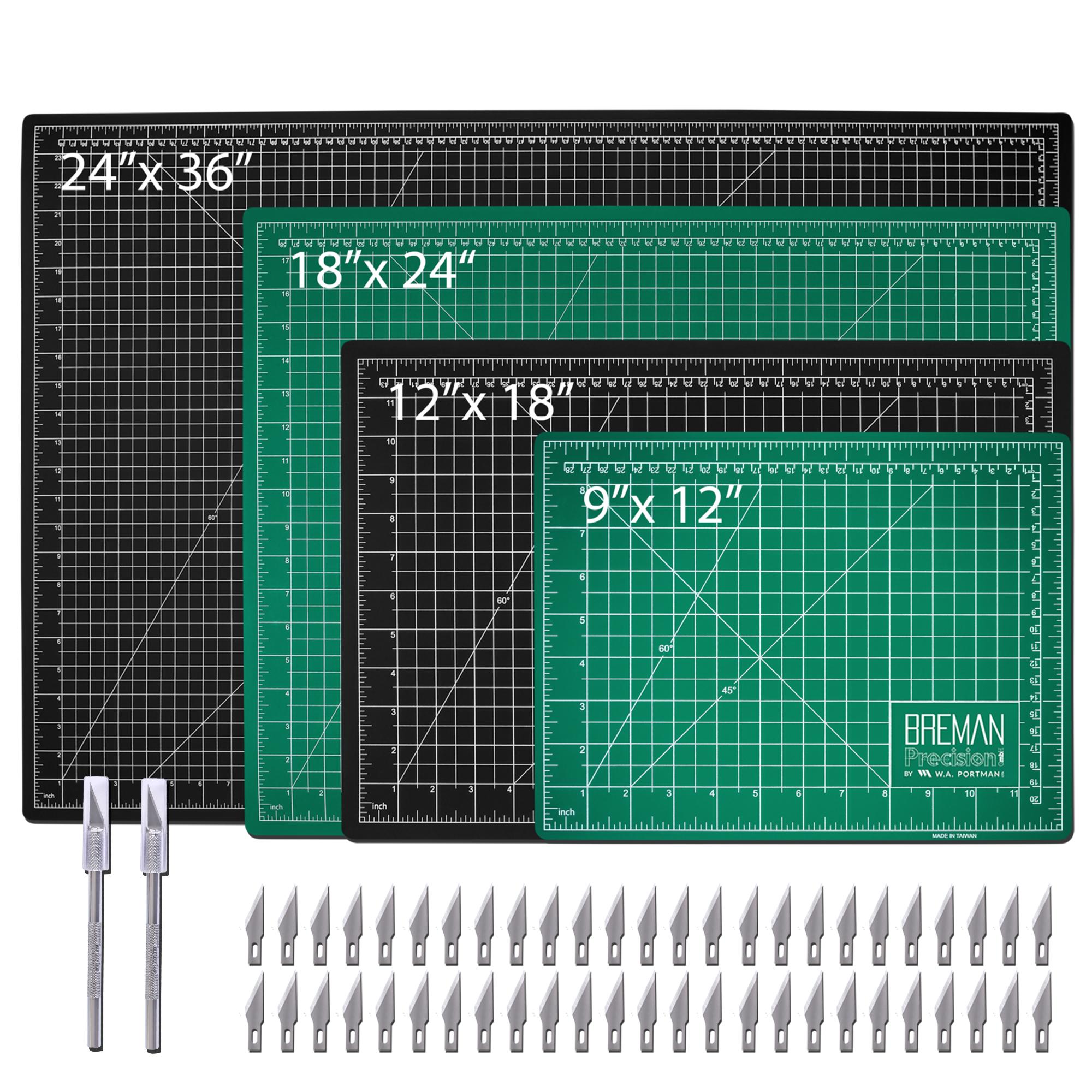 W.A. Portman Cutting Mat Set w/2pk Hobby Knives & 50 Blades (9x12, 12x18, 18x24, 24x36)