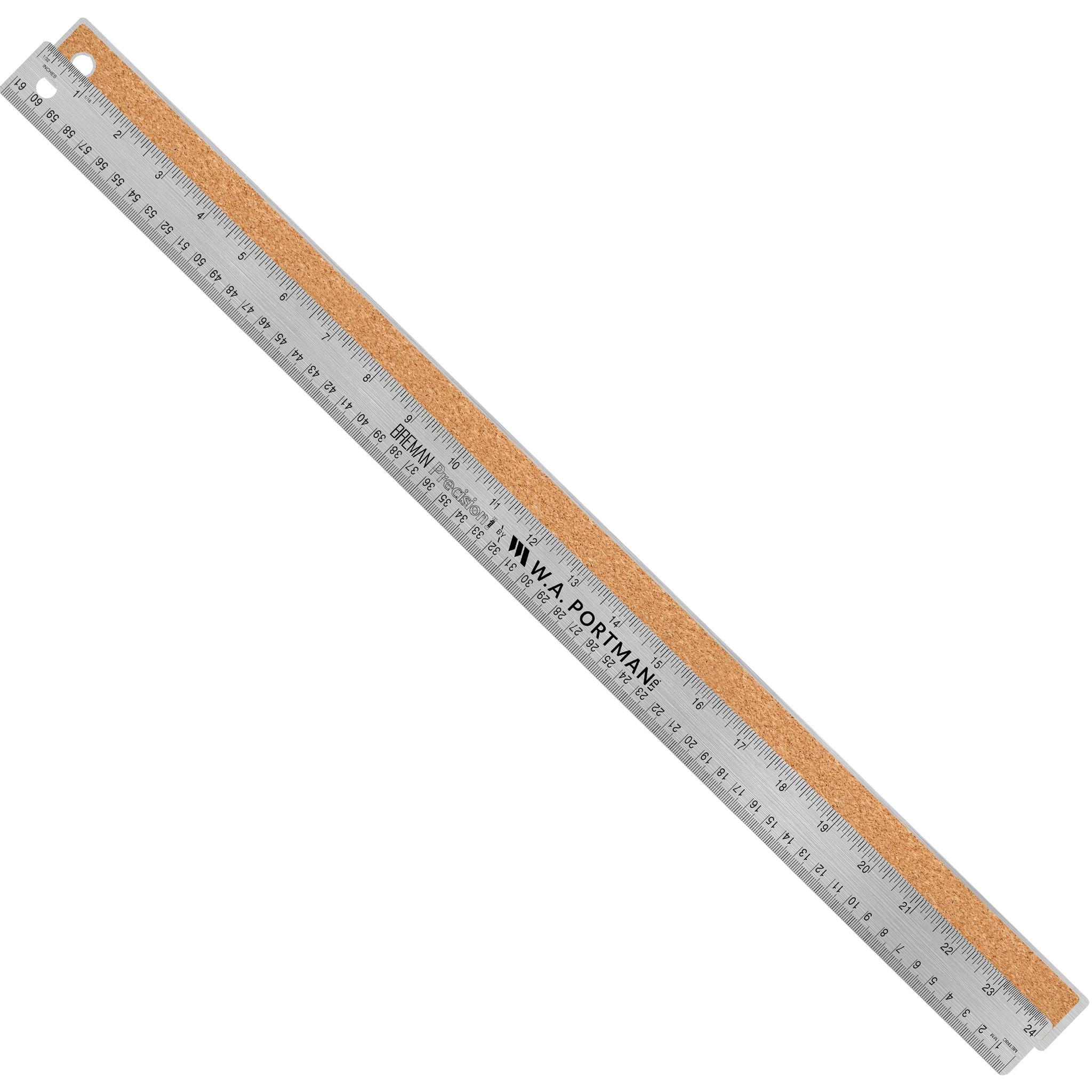 """W.A. Portman 24"""" Stainless Cork Back Ruler (1pk, 2pk, 10pk)"""