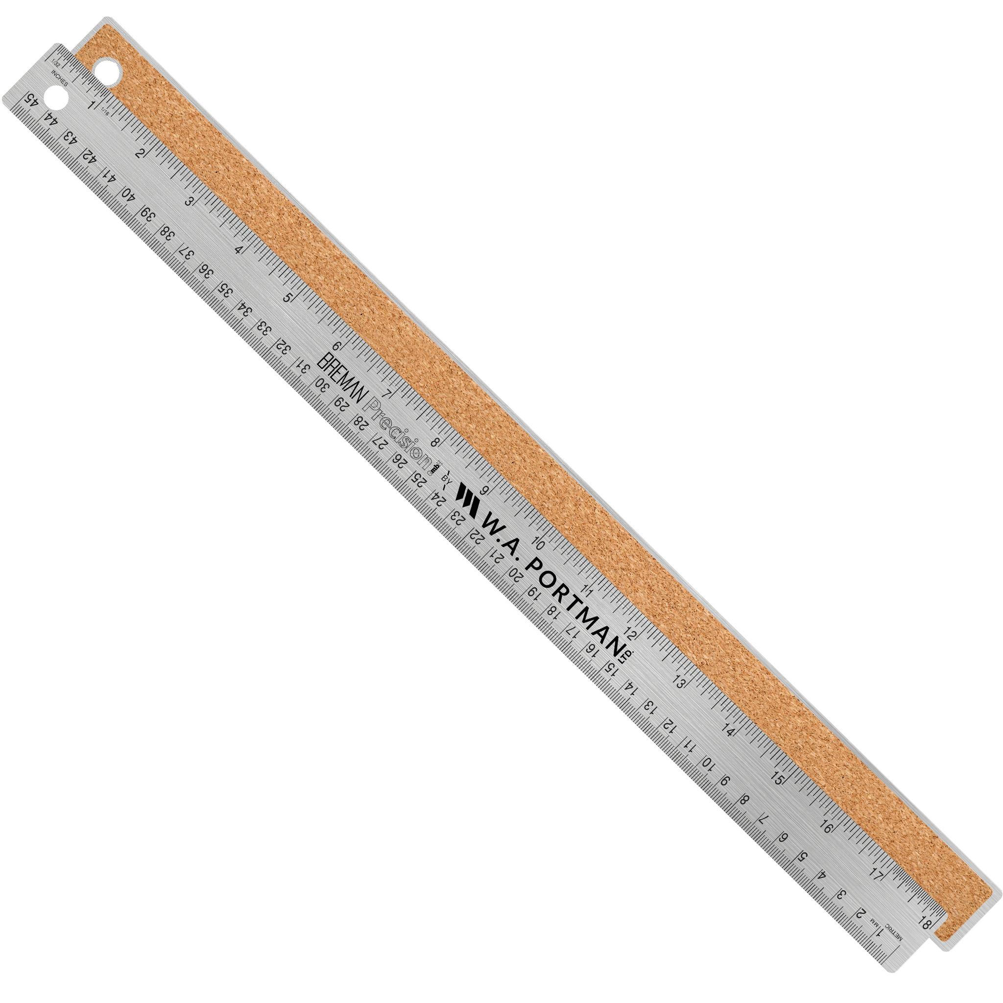 """W.A. Portman 18"""" Stainless Cork Back Ruler (1pk, 2pk, 10pk)"""