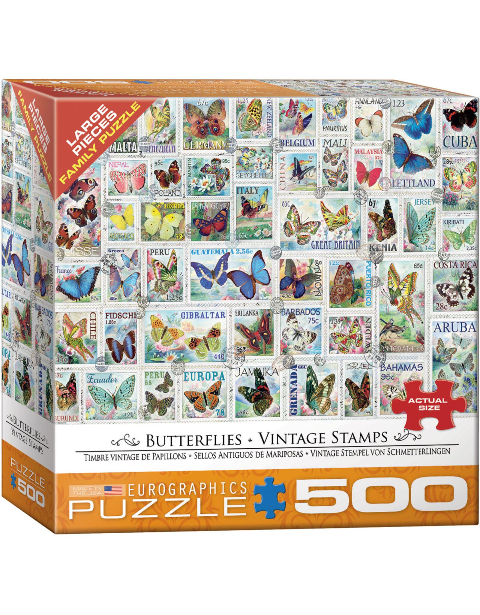 "Eurographics ""Butterflies Vintage Stamps"" 500 Piece Puzzle"