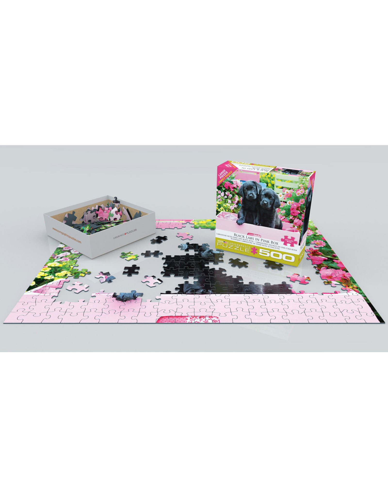 """Eurographics """"Black Labs in Pink Box"""" 500 Piece Puzzle"""