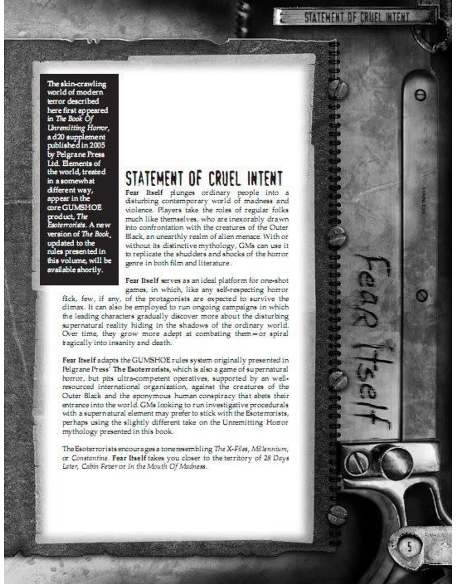 Pelgrane Press Fear Itself 1E: Core Rulebook