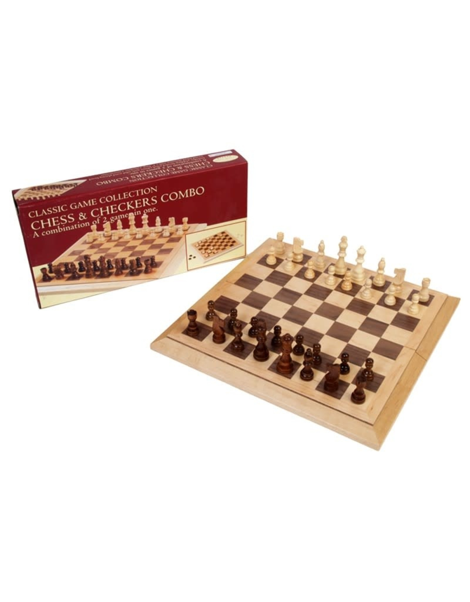 "John Hansen 16"" Staunton Wood Folding Chess & Checkers Combo"