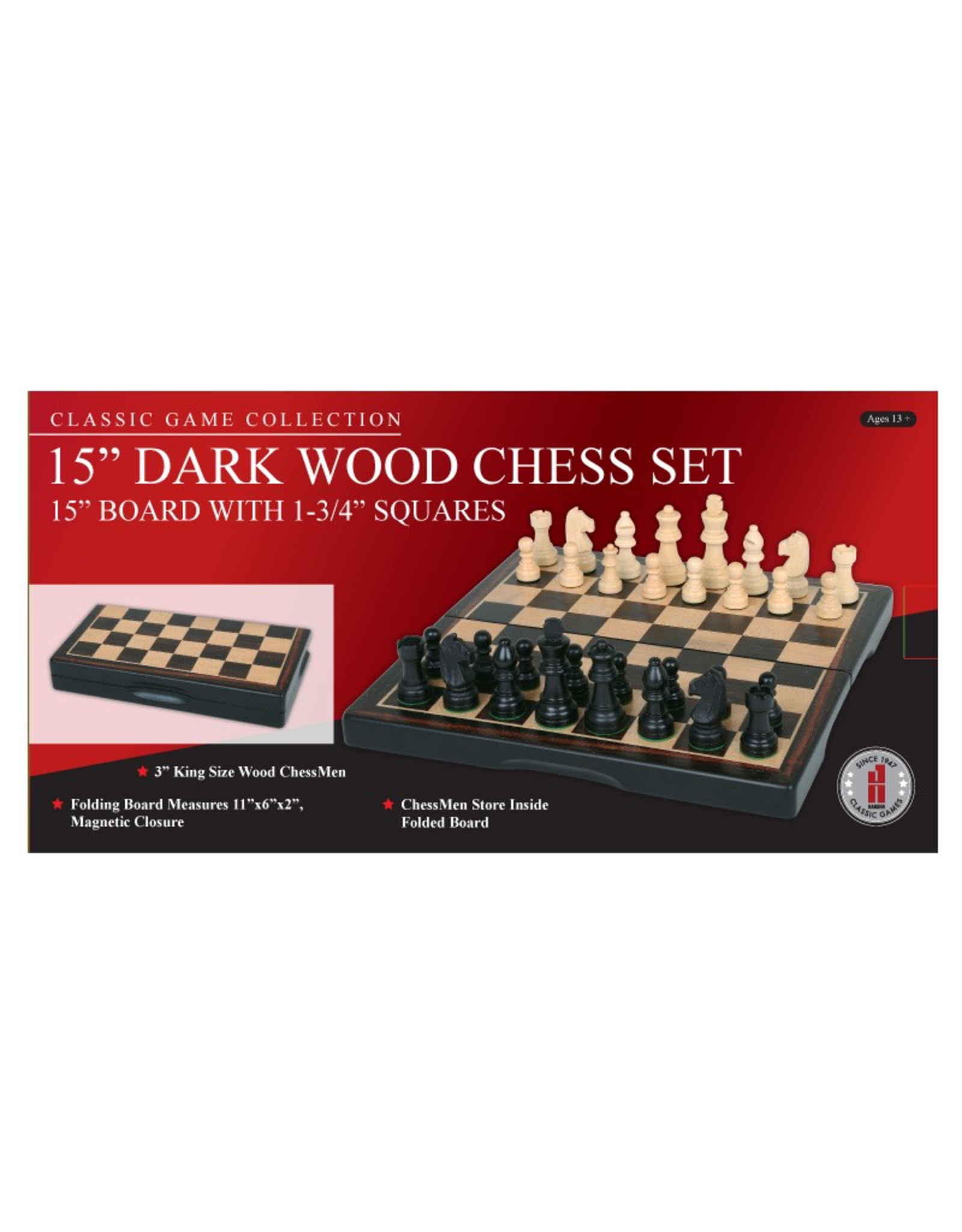 "John Hansen 15"" Ebony Wood Folding Chess Set"