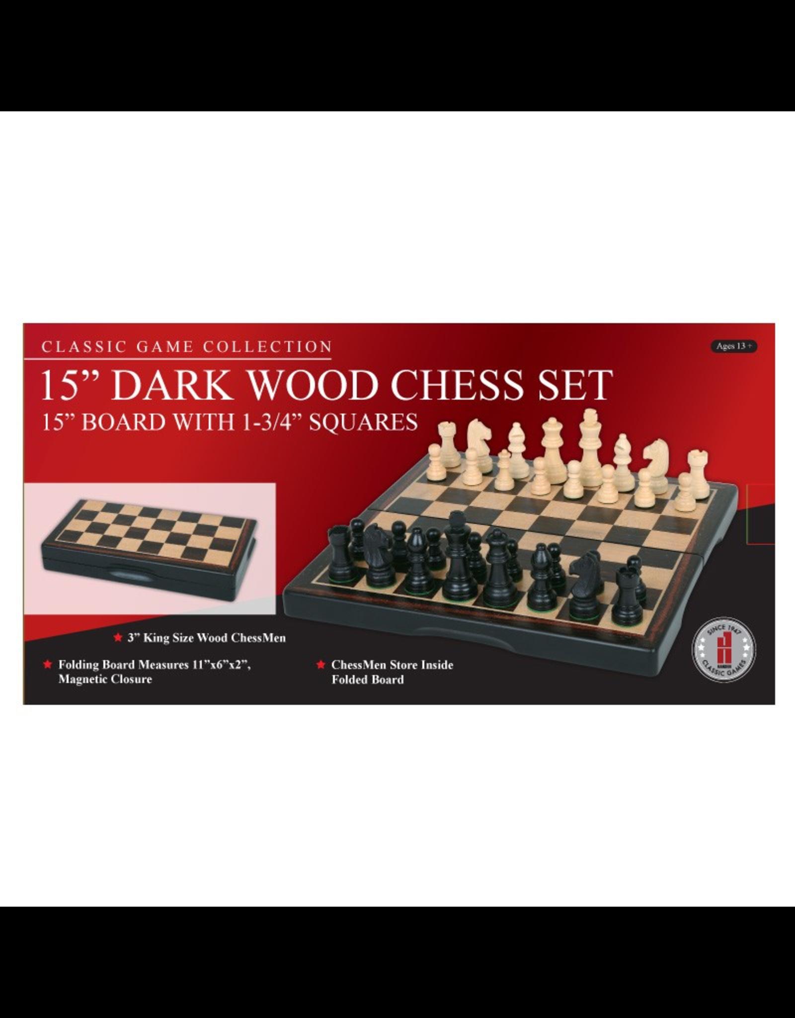 "John Hansen 15"" Ebony Wood Folding Chess Set"