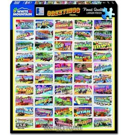 """White Mountain Puzzle """"State Greetings Stamps"""" 1000 Piece Puzzle"""