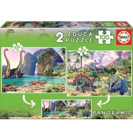 "Educa ""Dino World"" 2x 100 Piece Puzzle"