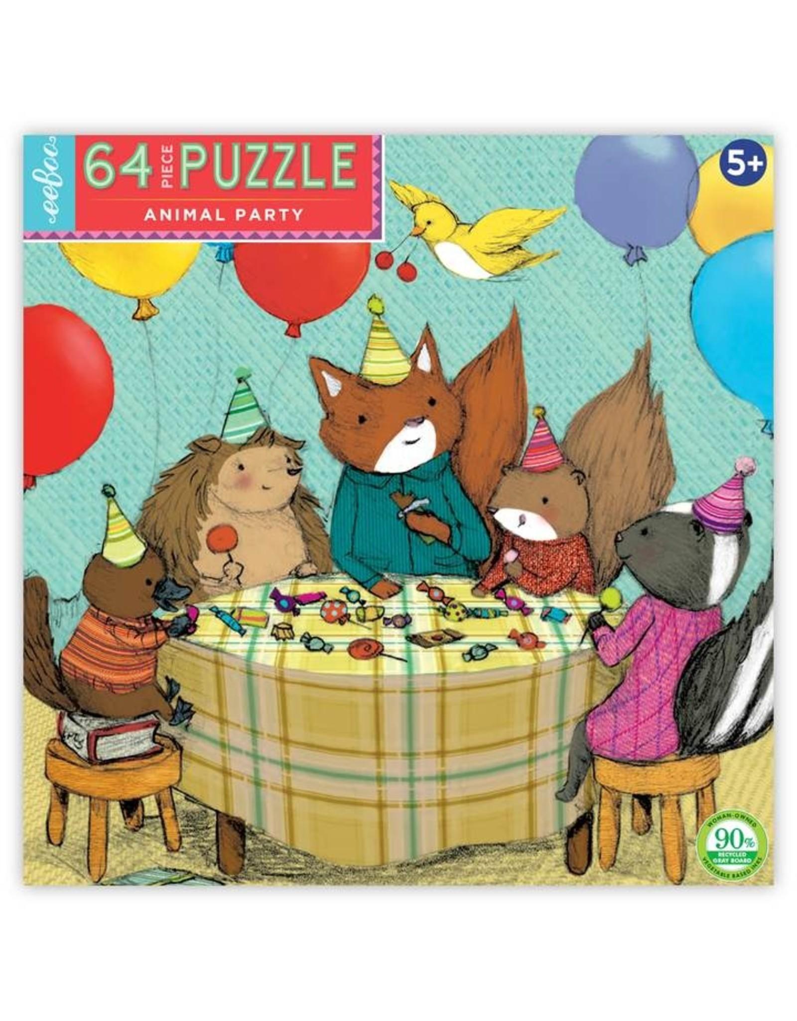 """eeBoo """"Animal Party"""" 64 Piece Puzzle"""