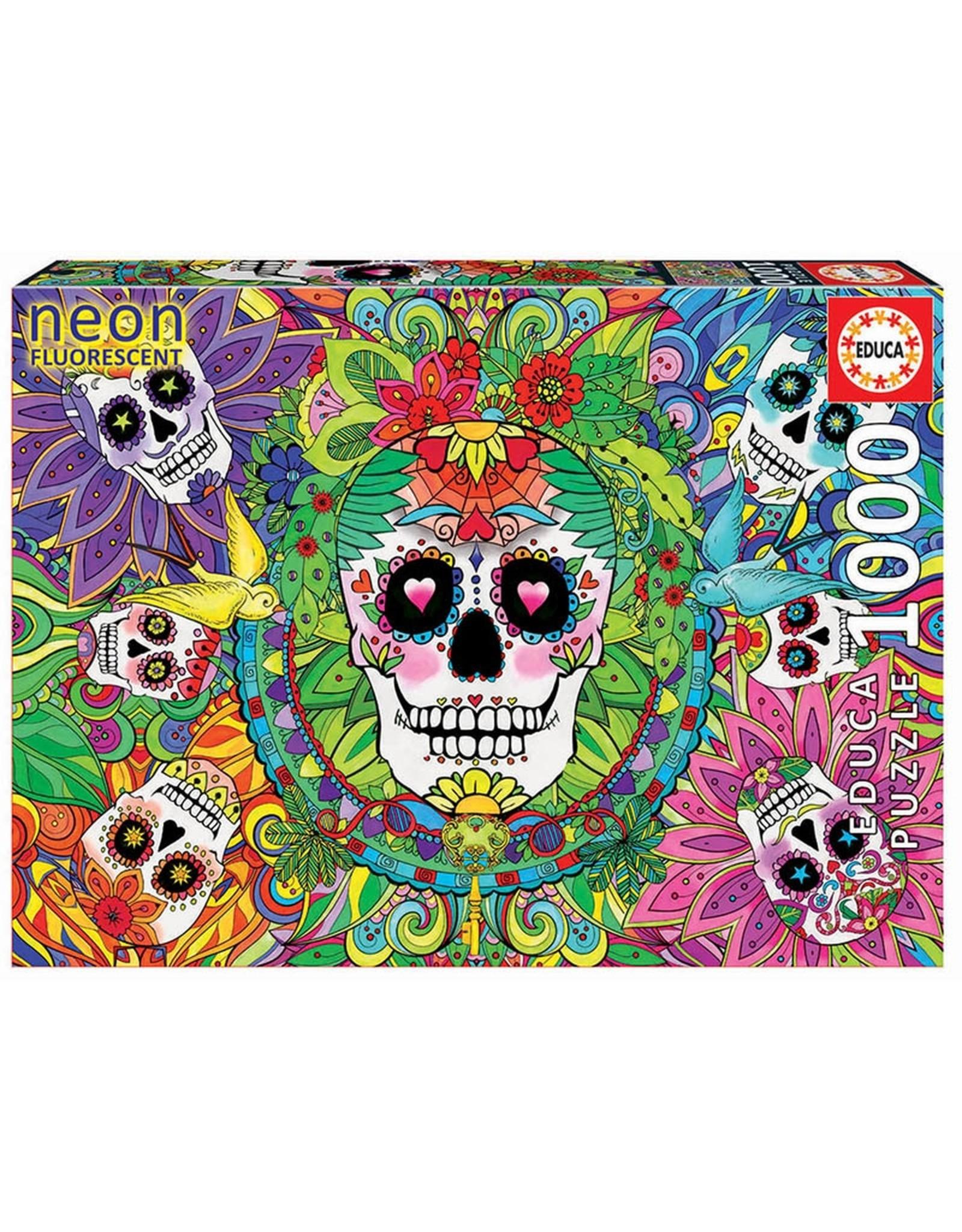 """Educa """"Sugar Skulls"""" 1000 Piece Neon Puzzle"""