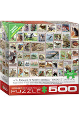 """Eurographics """"Animals of North America - Vintage Stamps""""  500 Piece Puzzle"""