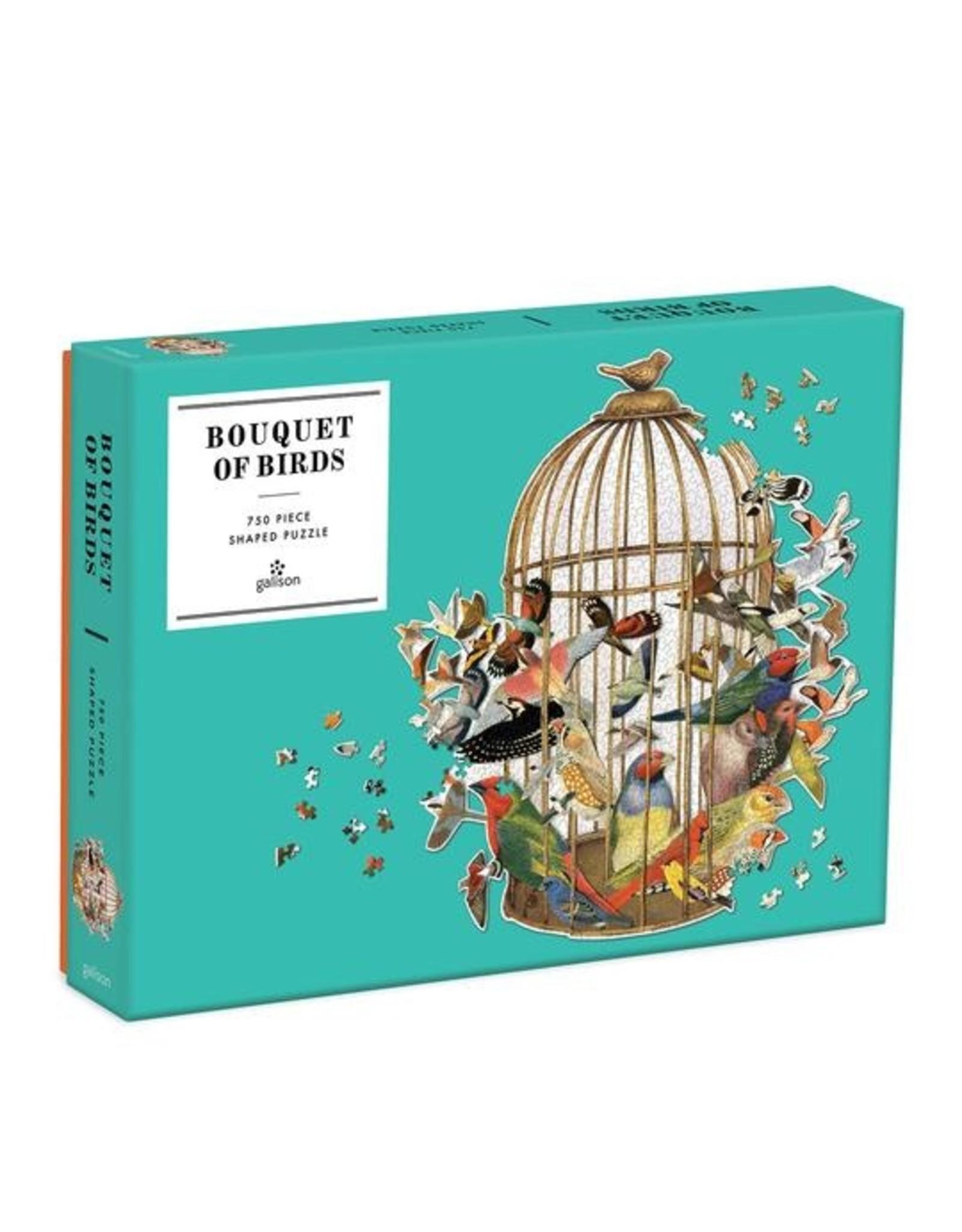 """Galison """"Bouquet of Birds"""" Shaped 750 Piece Puzzle"""