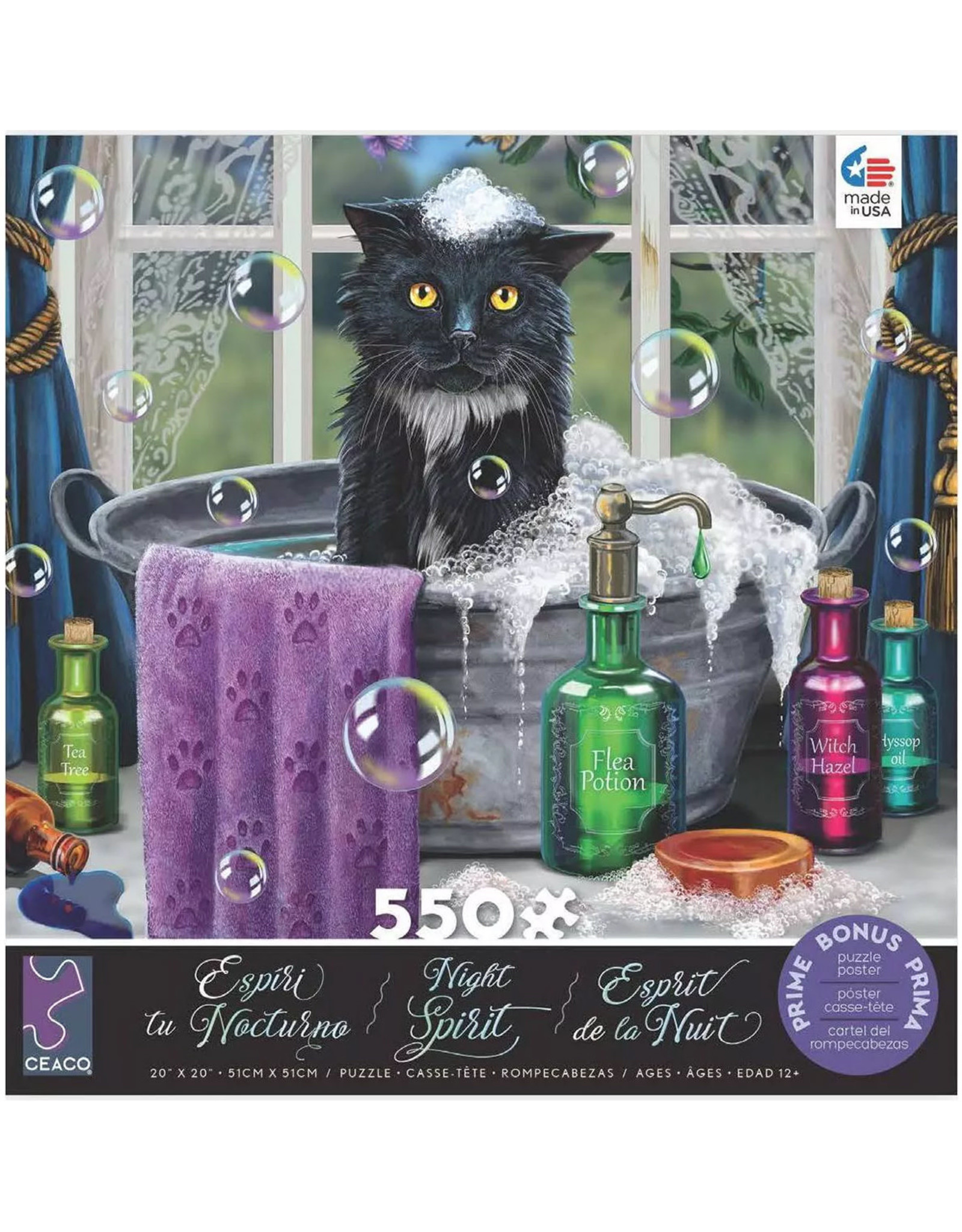 """Ceaco Night Spirit Collection: """"Cat in the Bath"""" 550 Piece Puzzle"""