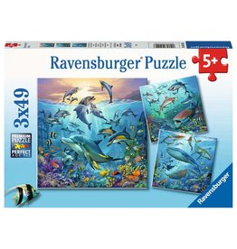 "Ravensburger ""The World of Ocean Animals"" 3 X 49 Piece Puzzles"