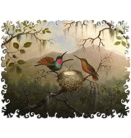 """Artifact Puzzles """"Two Hummingbirds at Nest"""" Wooden Jigsaw Puzzle"""