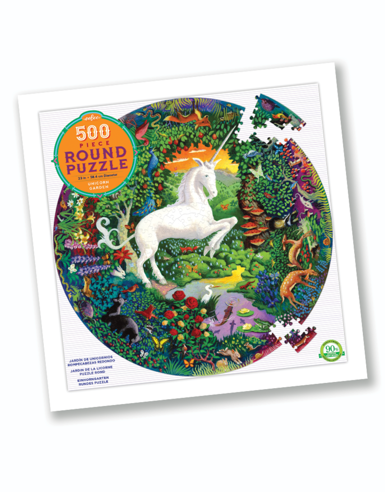 eeBoo Unicorn Garden 500-Piece Round Puzzle