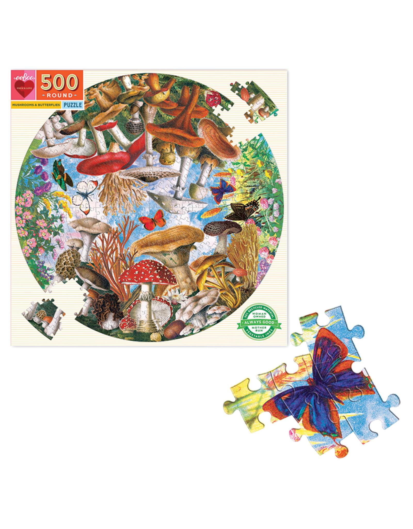 eeBoo Mushrooms and Butterflies 500-Piece Puzzle