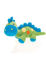 Pebble Green Steggy Dinosaur Knitted Rattle