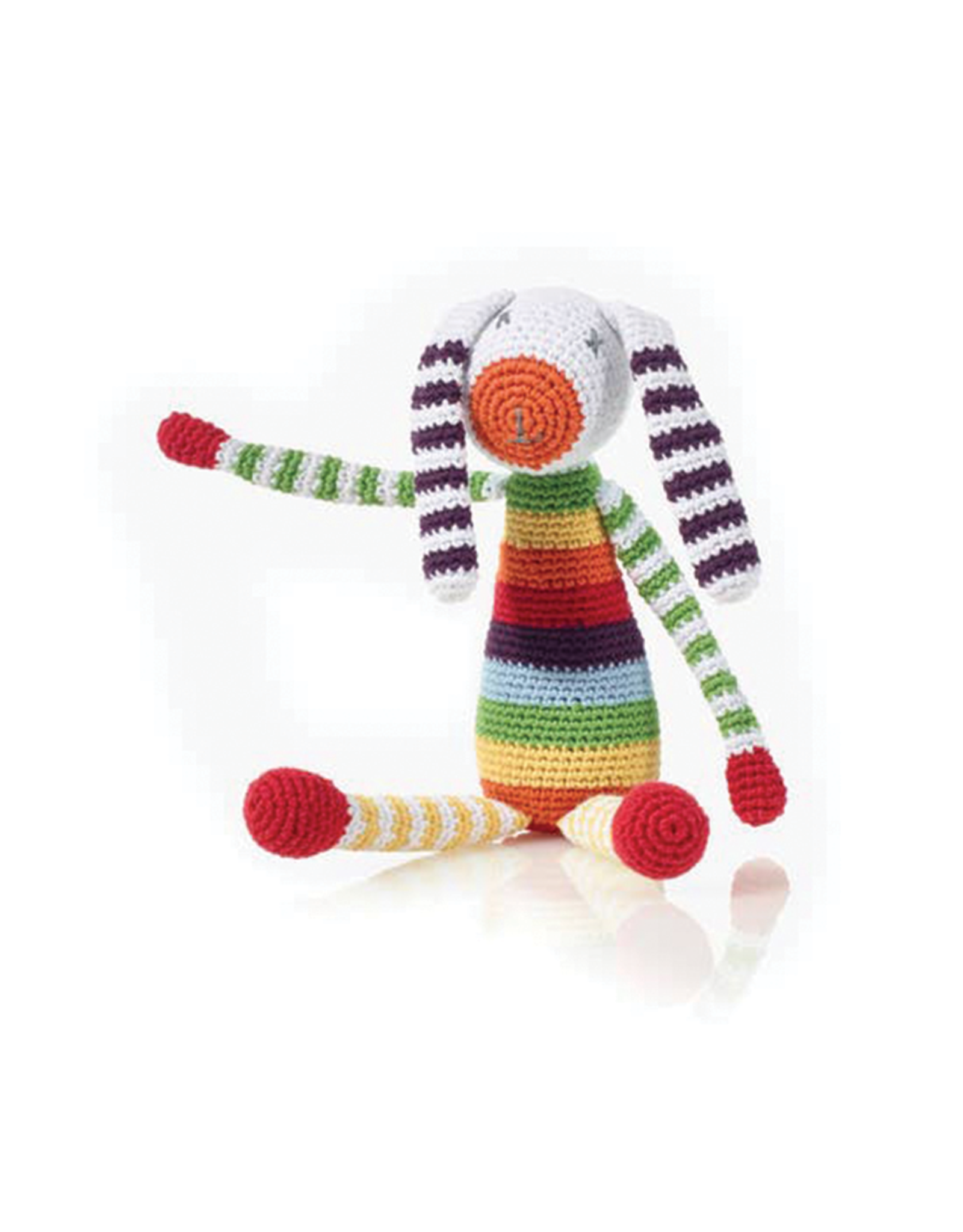 Pebble Rainbow Bunny Knitted Rattle
