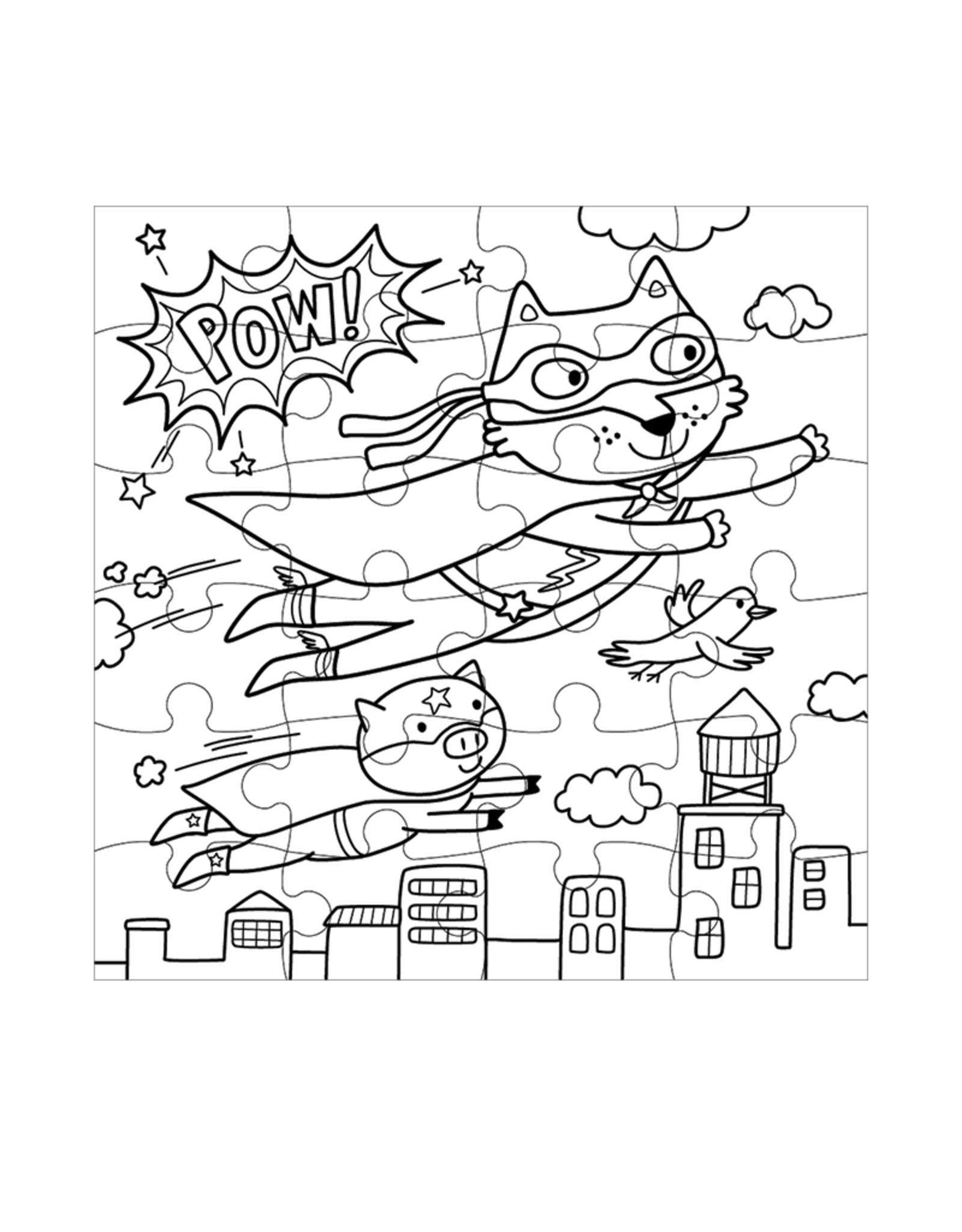 Mudpuppy Superhero Color-In 24 Piece Puzzle