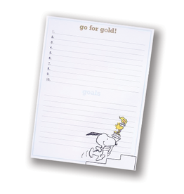 """Peanuts """"Go for the Gold"""" Large Notepad"""