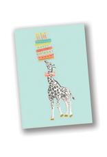 """""""Happy Birthday"""" Blue Giraffe Card"""