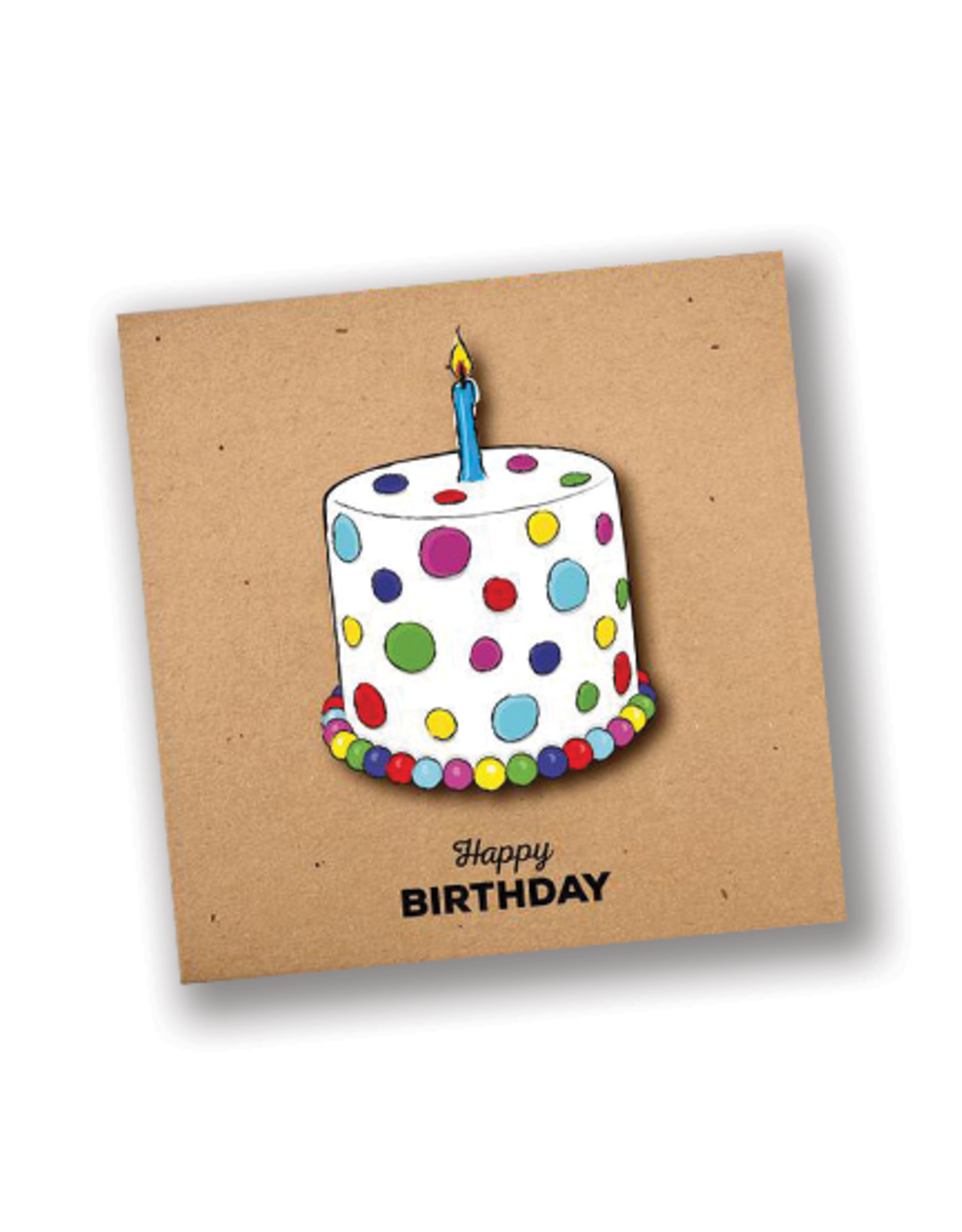 """Happy Birthday"" Polka Dot Cake Card"