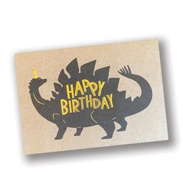 """Happy Birthday"" Stegosaurus Kraft Card"