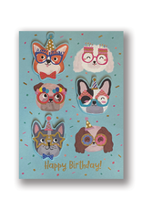 """""""Happy Birthday!"""" Dogs Wearing Glasses Card"""