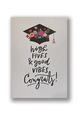 """High Fives & Good Vibes"" Graduation Card"