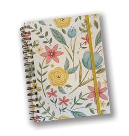 Yellow Floral Spiral Journal