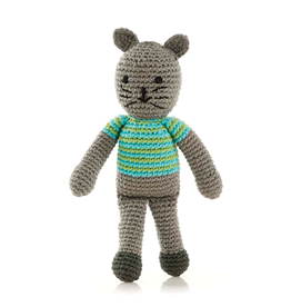Pebble Boy Cat Knitted Rattle