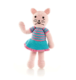 Pebble Girl Cat Knitted Rattle