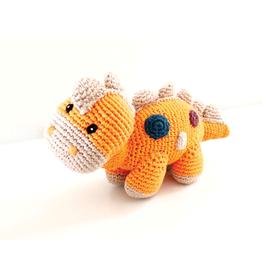 Pebble Orange Dinosaur Knitted Rattle