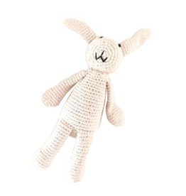Pebble White Organic Bunny Knitted Rattle