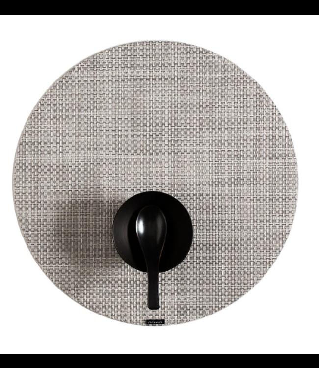 Round Basketweave Tablemat - White/Silver