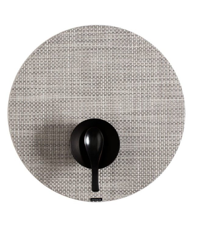 White/Silver Round Basketweave Tablemat