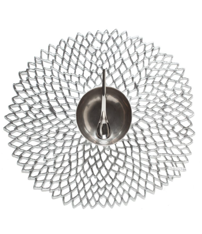 Silver Pressed Dahlia Tablemat